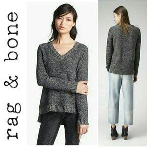 Rag & Bone High Low Marled Gray V Neck Sweater M